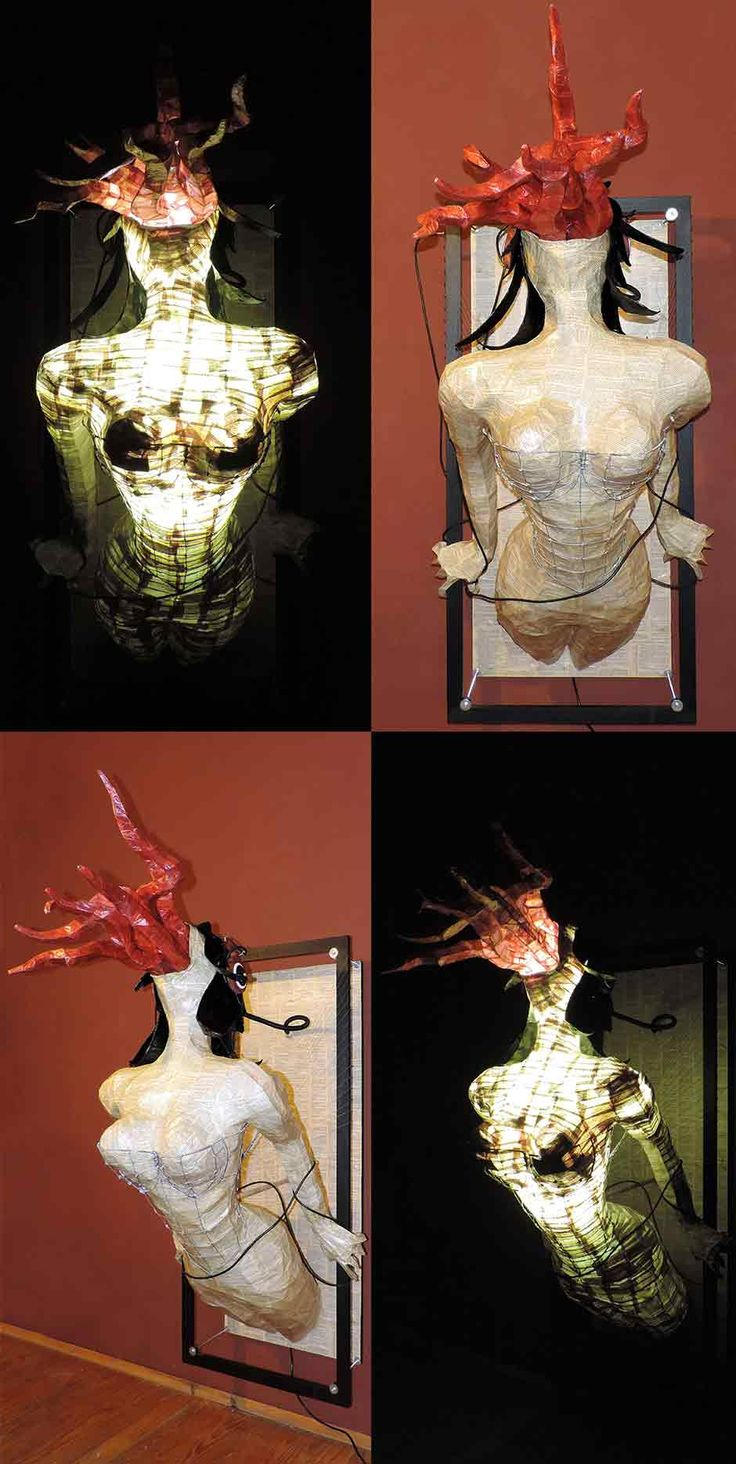 a Life-sized wire frame woman, covered with old book pages. Wire frame tentacles covered with paper emerges from her head, the tentacles together with the wooden headphones, mimicking eyes, resembles a squid like creature. The woman is wearing a wire corset strung and attached to the wooden frame from which she seems to emerge. The sculpture is illuminated from within the head and torso with lightbulbs. see more @ the mind is right http://themindisright.com/Project/Standof-Fish-Sculpture
