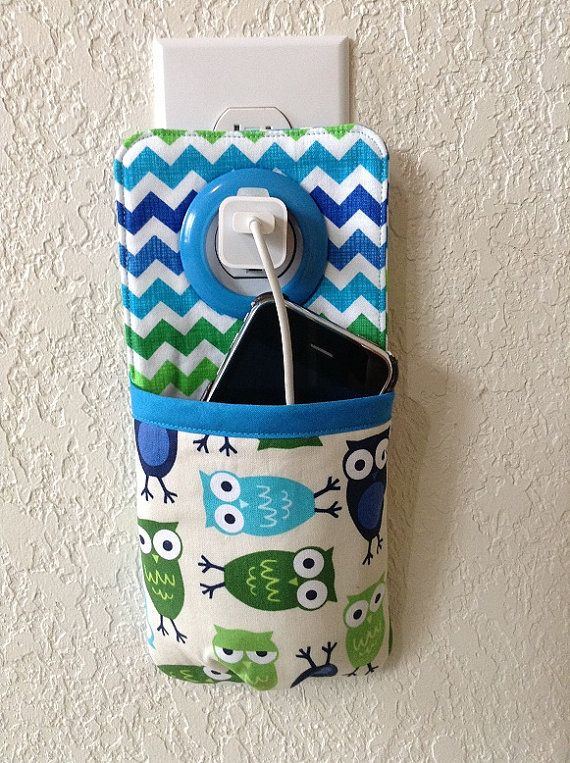 iPhone , iPod Touch, smart phone Docking Station /  wall Socket Holder / cell phone charger holder **Blue Owl**