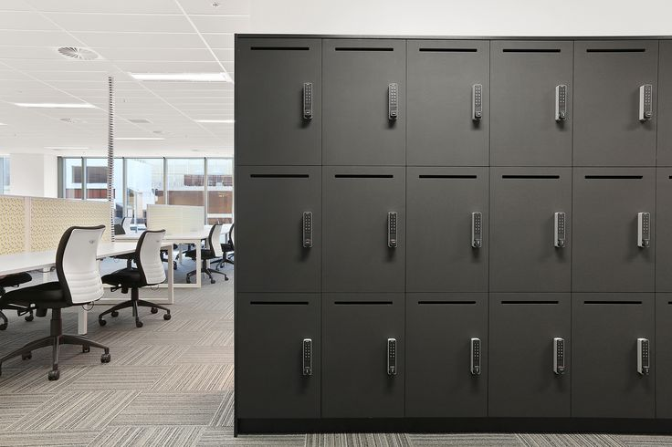 Black Laminate lockers with slot and digital PIN entry lock #activelocker #abw #interiors #commercial