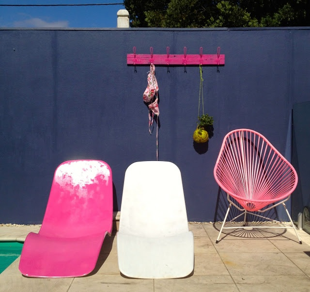 grey and pink poolside by heather nette king