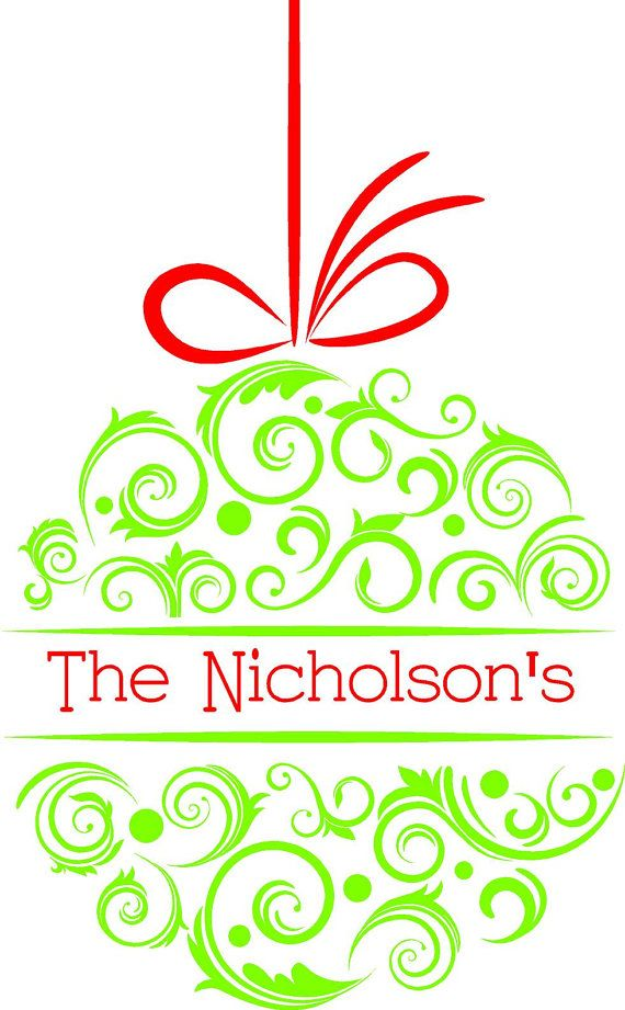 Custom Personalized Christmas Ornament Wall Art in Words Vinyl Lettering Stickers Decals Free Shipping to the U.S.