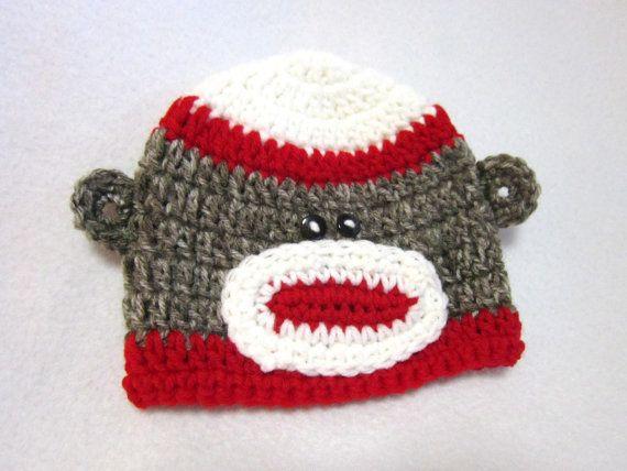 Sock Monkey Baby Hat Crochet Red and White Sock Monkey Cap