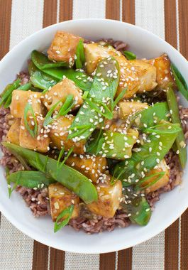 Try our Seared Tofu with Snow Peas Recipe, so simple and so delicious! The pink sesame rice also gives this dish a buttery, nutty flavor with hints of clove, cinnamon and nutmeg.