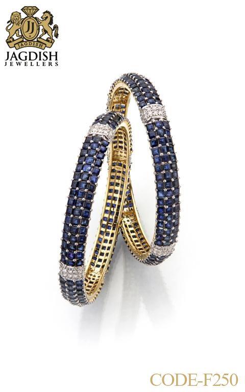 Jagdish Jewellers | Bangles Blue Sapphire & Diamonds