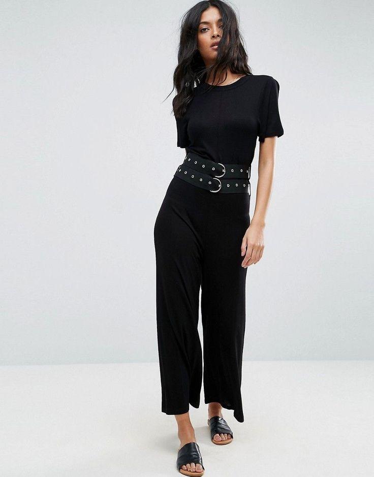 ASOS Jersey T-Shirt Jumpsuit with Double Belt Detail - Black