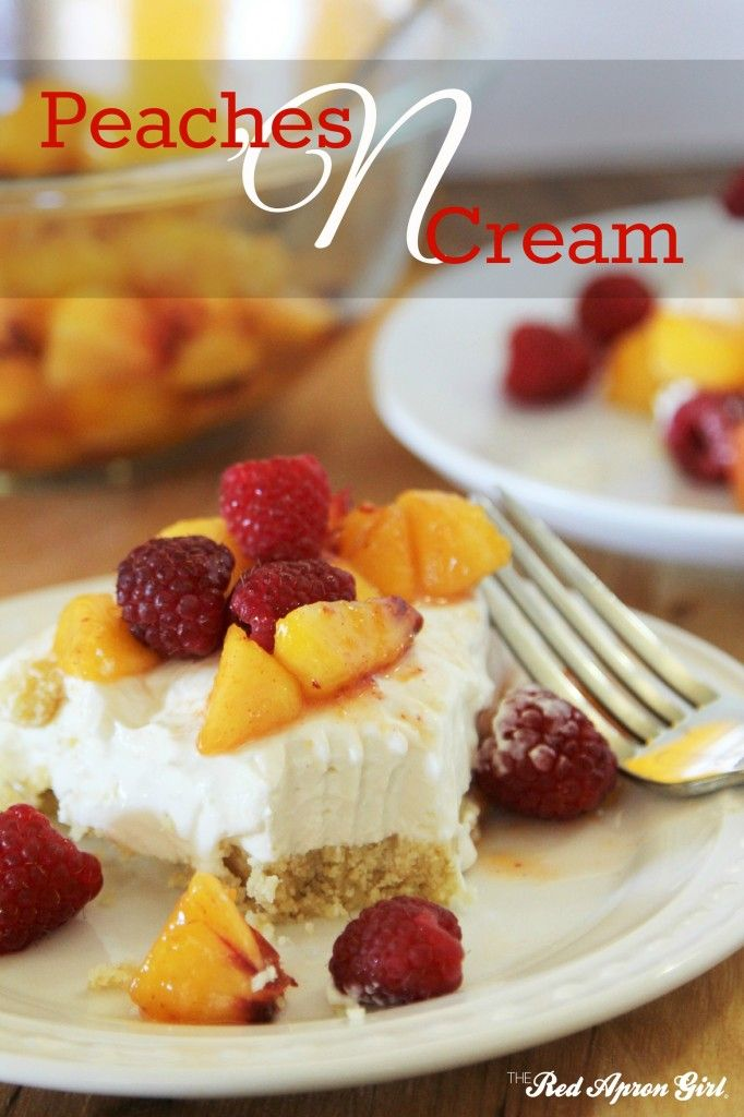 Peaches and Cream Dessert. This is delicious there isn't much else to say about it other then it is delicious try it