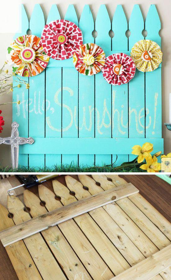 Chalkboard Picket Fence Pallet   DIY Backyard Ideas on a Budget   DIY Garden Fence Ideas