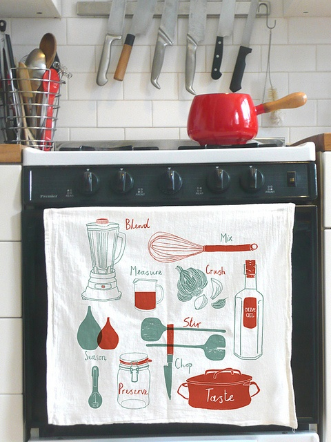 kitchen tools, on a towel.: Stove, Foodie, Style, Color, Ware Drawings, Food Illustrations