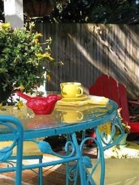 Dear Daisy Cottage colorful table on the patio