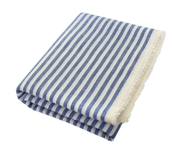 The Dries: Thin Striped Blue and White Bath Towels