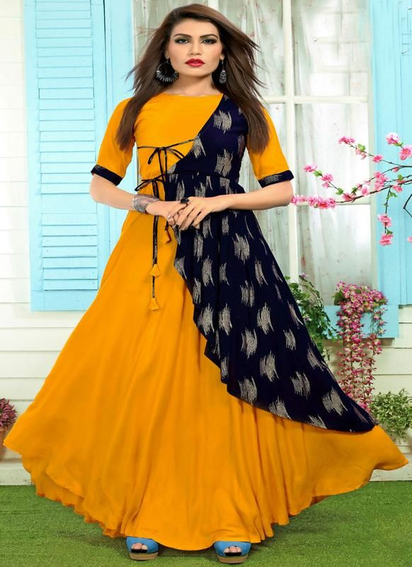5e6ad00ec97 Amazing Yellow And Navy Blue Rayon Cotton Printed Designer Kurti ...