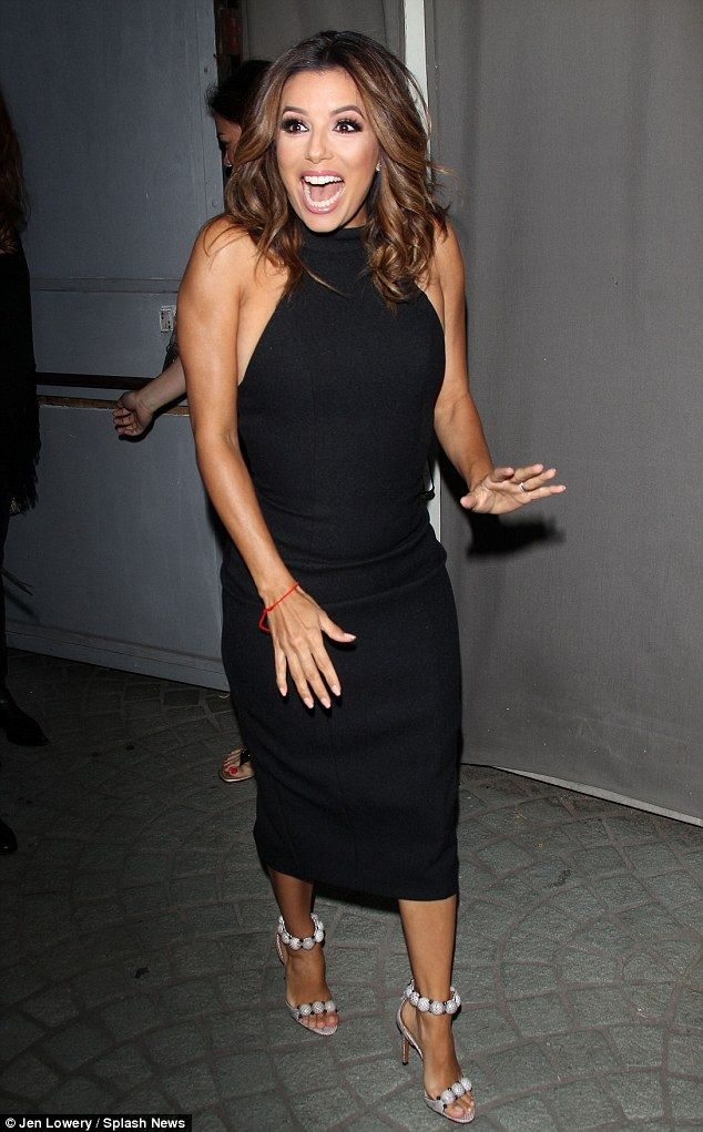 Happy to be there: The brunette beauty smiles as she greeted several stars of the programm...