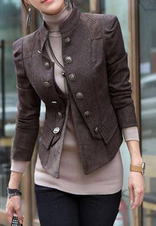 cool Stylish Double Breast Solid Color Jacket Coat  #Winter Casual/Military Fashion Women Streetstyle