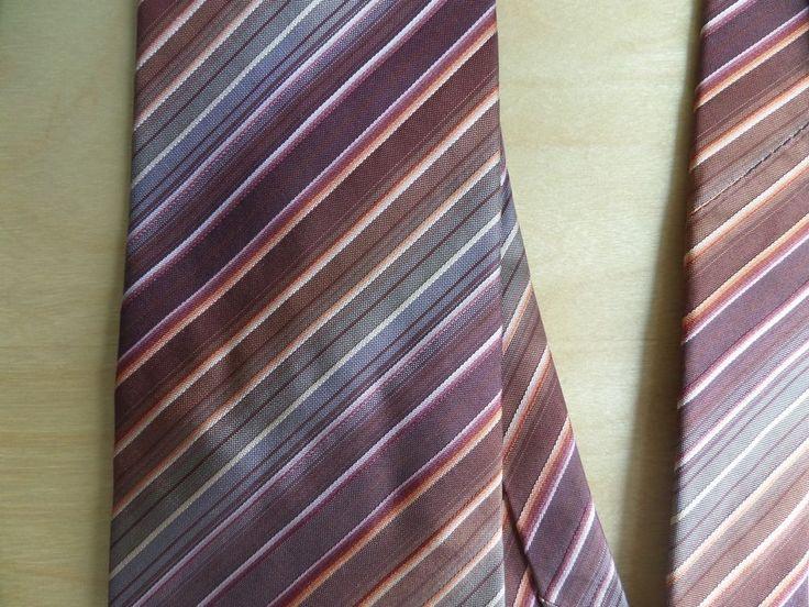 HUGO BOSS Mens Necktie Made in Italy 100% Silk Brown Bronze Striped #HUGOBOSS