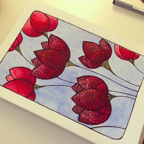 #цветы #красный #акварель #графика #узор #лайнер | Gromova_Ksenya | Flickr