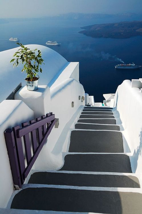 Stairs to the Sea, Santorini, Greece