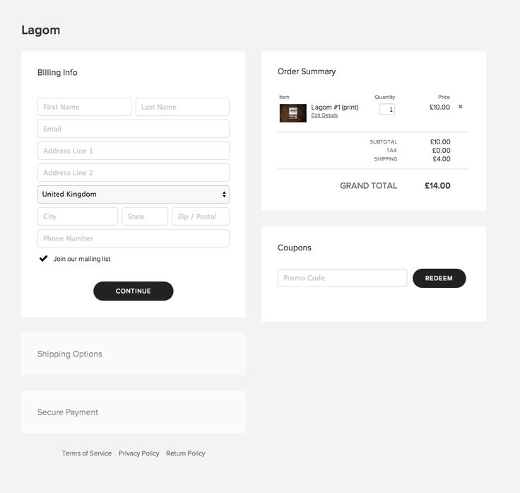 Clean simple clear checkout UI