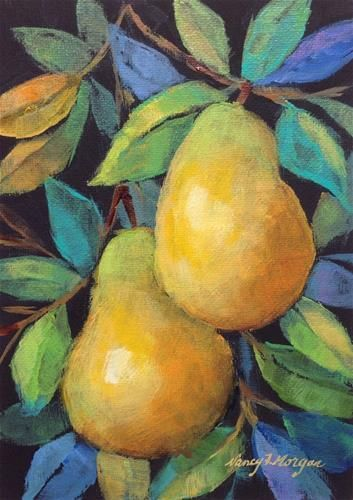 """Daily Paintworks - """"Two Pears"""" - Original Fine Art for Sale - © Nancy F. Morgan"""