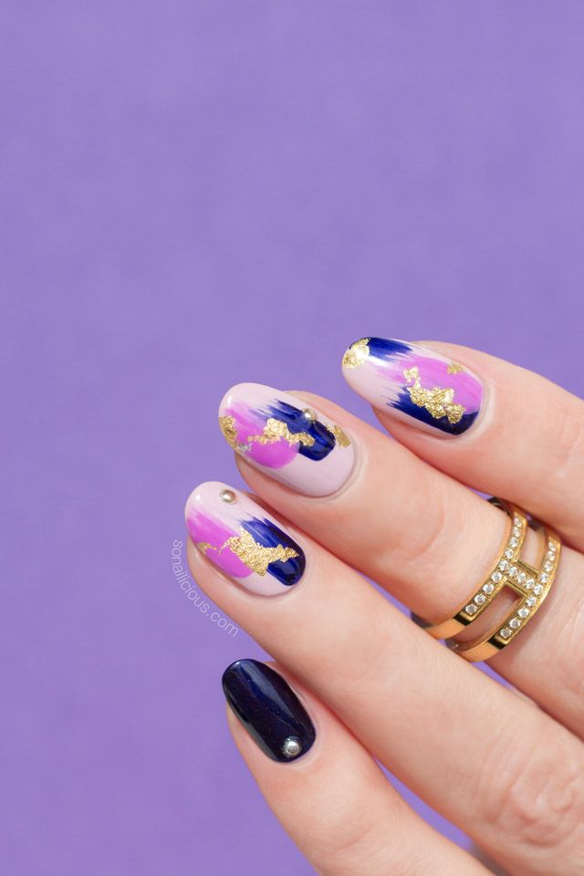 Purple nail design. Click for how to