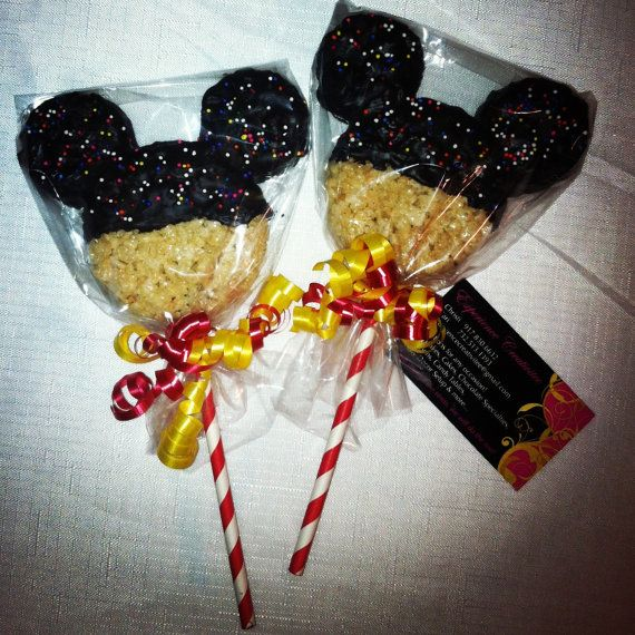 MICKEY MOUSE 5 Rice Krispie Treat Pops by ExperienceCreativite