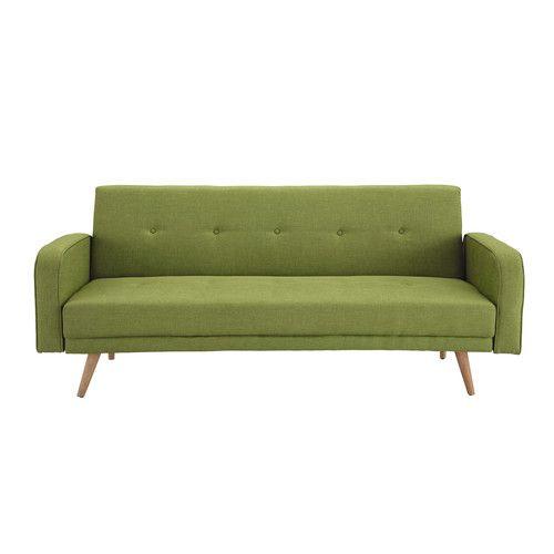 Divano letto 3 posti in tessuto verde anice - Broadway