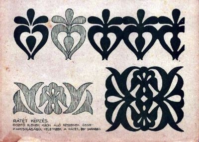 Bordado Húngaro: el motivo superior quedaría perfecto en corsetería.