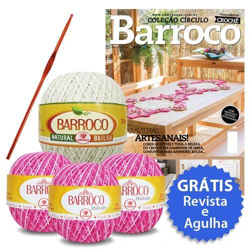 Kit Receita Barroco edição nº15 (Grátis Revista e Agulha) Confira: http://www.tricolinhas.com.br/artesanato/croche/kit-croche/kit-receita-barroco-edicao-n-15.html