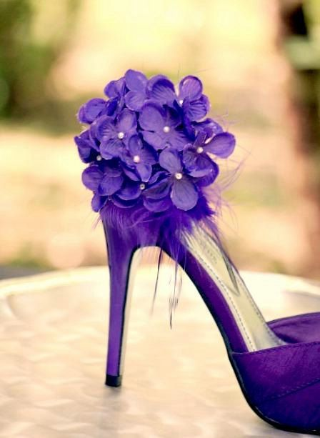 Bellflower Deep Purple Hydrangeas Shoe Clips, Pearls & Feathers. Bride Bridal Bridesmaid Couture Statemente, Floral Bloom Blossom Bunch. $48.00, via Etsy.