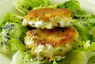 Fried Goat Cheese Salad with Creamy Lemon Poppy Seed Dressing