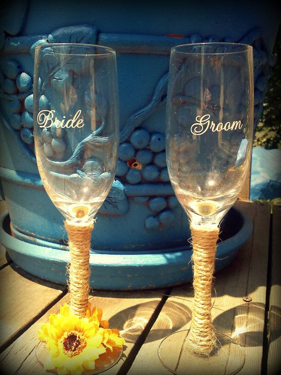 Wicked cute country toasting glasses! perfect for you and your Groom!..check My stuff out on etsy :) https://www.etsy.com/listing/155660434/bride-groom-rustic-sunflower-wedding