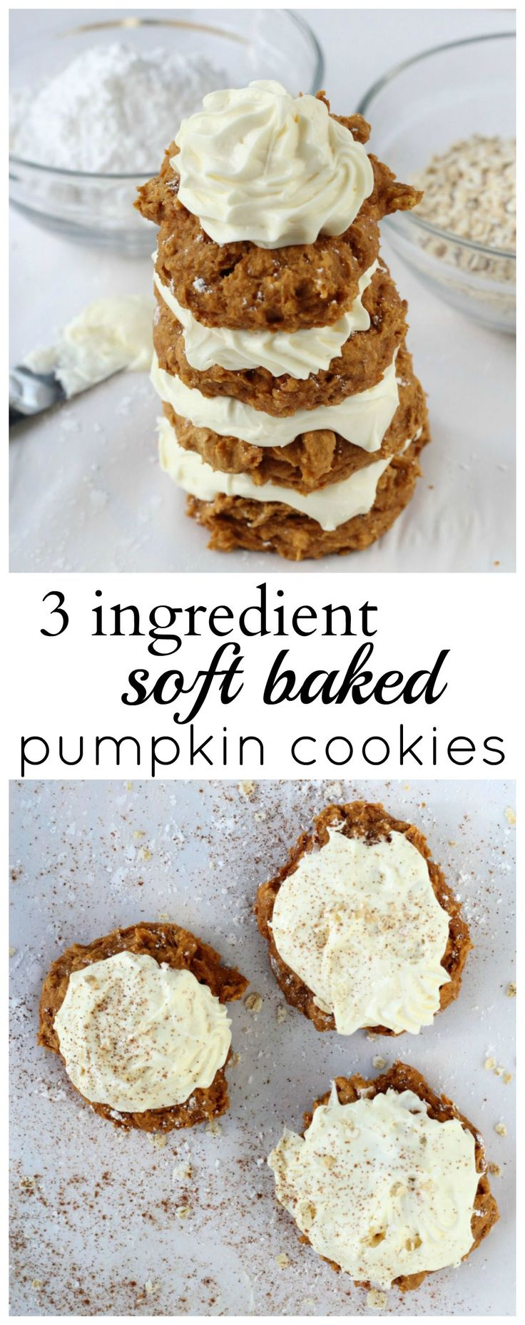 Soft pumpkin cookies made with spice cake mix, pumpkin puree, and oats.