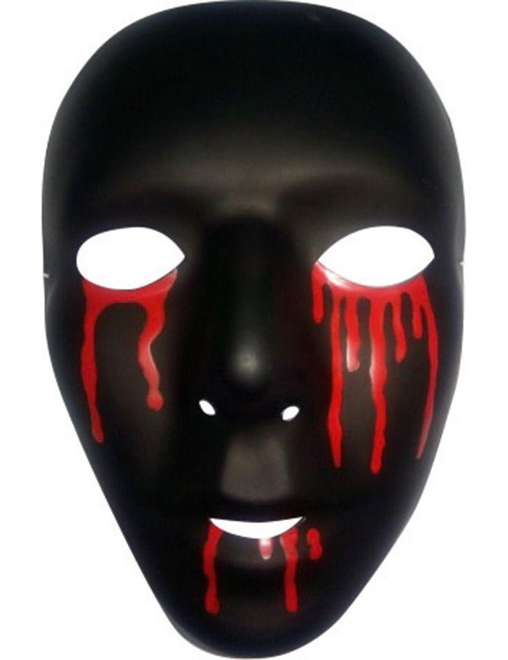 Maschera nera con lacrime di sangue - Halloween: Questa maschera nera di Halloween è per adulto.Essa rappresenta il volto di un uomo rigato di lacrime di sangue.Ad Halloween o per una rappresentazione teatrale, aggiungi un tocco di mistero... #halloween #maschere #halloweenmaschere
