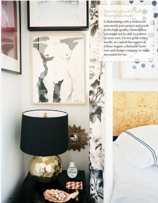 Decor Photo A Grouping Of Art Above Black Bedside Table
