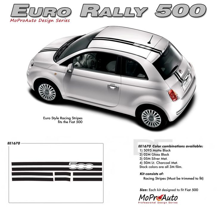 2011 2012 2013 2014 EURO RALLY : Fiat 500 Vinyl Graphics Kit