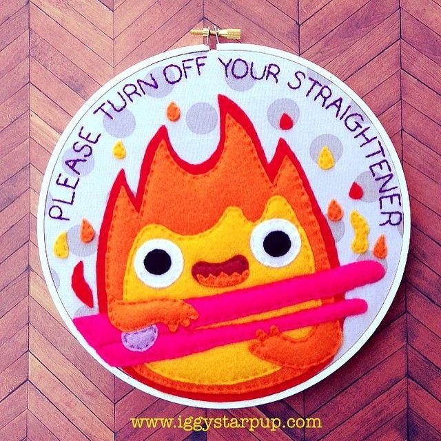 A friendly reminder from an all powerful fire demon #calcifer #howlsmovingcastle #studioghibli #hayaomiyazaki #firedemon #fiberart #textileart #felt #fanart #crafts #needlework #sewing #homedecor #handmade #iggystarpup