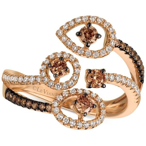 Le Vian Chocolatier Chocolatier Diamond Bypass Statement Ring (5/8 ct. (75 025 UAH) ❤ liked on Polyvore featuring jewelry, rings, rose gold, diamond rings, pink gold diamond rings, cocktail rings, round diamond ring and pink gold rings