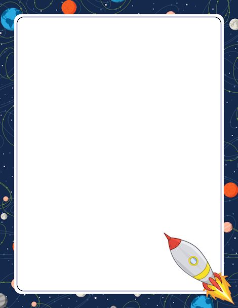 Printable rocket border. Free GIF, JPG, PDF, and PNG downloads at http://pageborders.org/download/rocket-border/. EPS and AI versions are also available.