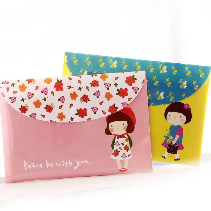 24 pcs/lot A4 cartoon PVC office snap bag plastic bag file flower girl student papers bags wholesale