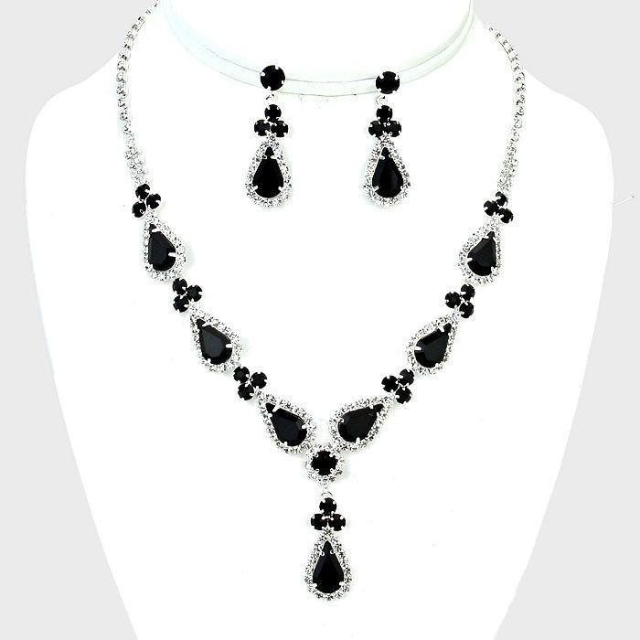 Jet Black Rhinestone Necklace & Earring Set (Sparkle-2473-U)