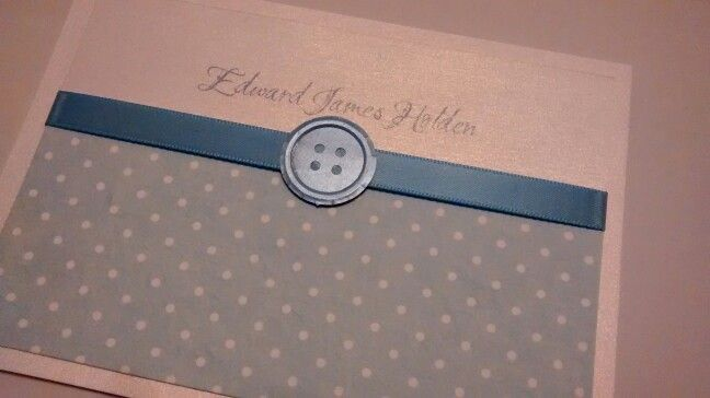 Boy's christening invitation - blue polka dot, satin ribbon and pearl paper punched button