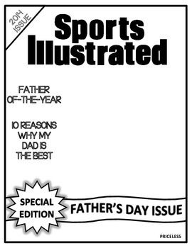 FATHER'S DAY PROJECT - SPORTS ILLUSTRATED MAGAZINE 2014 TEMPLATE PAPERS - TeachersPayTeachers.com