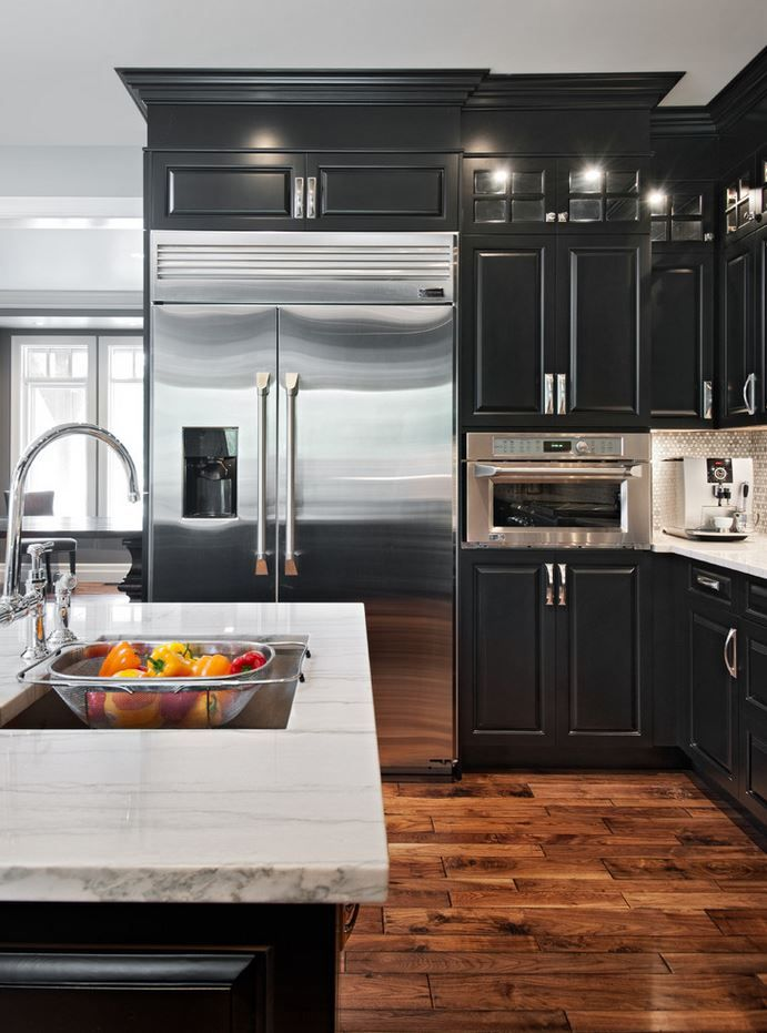 25 best ideas about black kitchens on pinterest modern for Black white and gray kitchen design