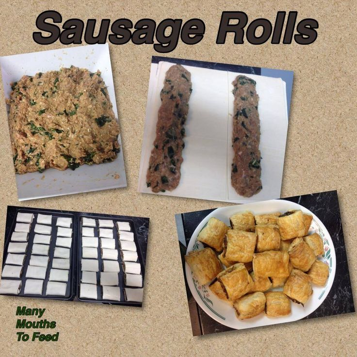 SAUSAGE ROLLS 250 GRAMS SAUSAGE MINCE  250 GRAMS CHICKEN MINCE  3 SPINACH LEAVES CHOPED FINE  1 LARGE ONION CHOPED FINE.  1 TBL SPOON MINCED GARLIC  PEPPER & SALT    1 TBL SPOON MIXED HERBS  1/4 CUP BBQ SAUCE  BREAD CRUMBS APPROX 1/2 CUP TO THICKEN MIXTURE  APPROX 4-5 SHEETS PUFF PASTRY EACH CUT IN HALF