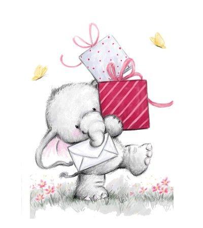 Sweet illustration of elephant with birthday presents