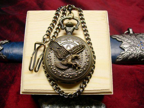 Steampunk Flying Eagle Pocket Watch  Gift Box by mythicaljewelry, $45.00