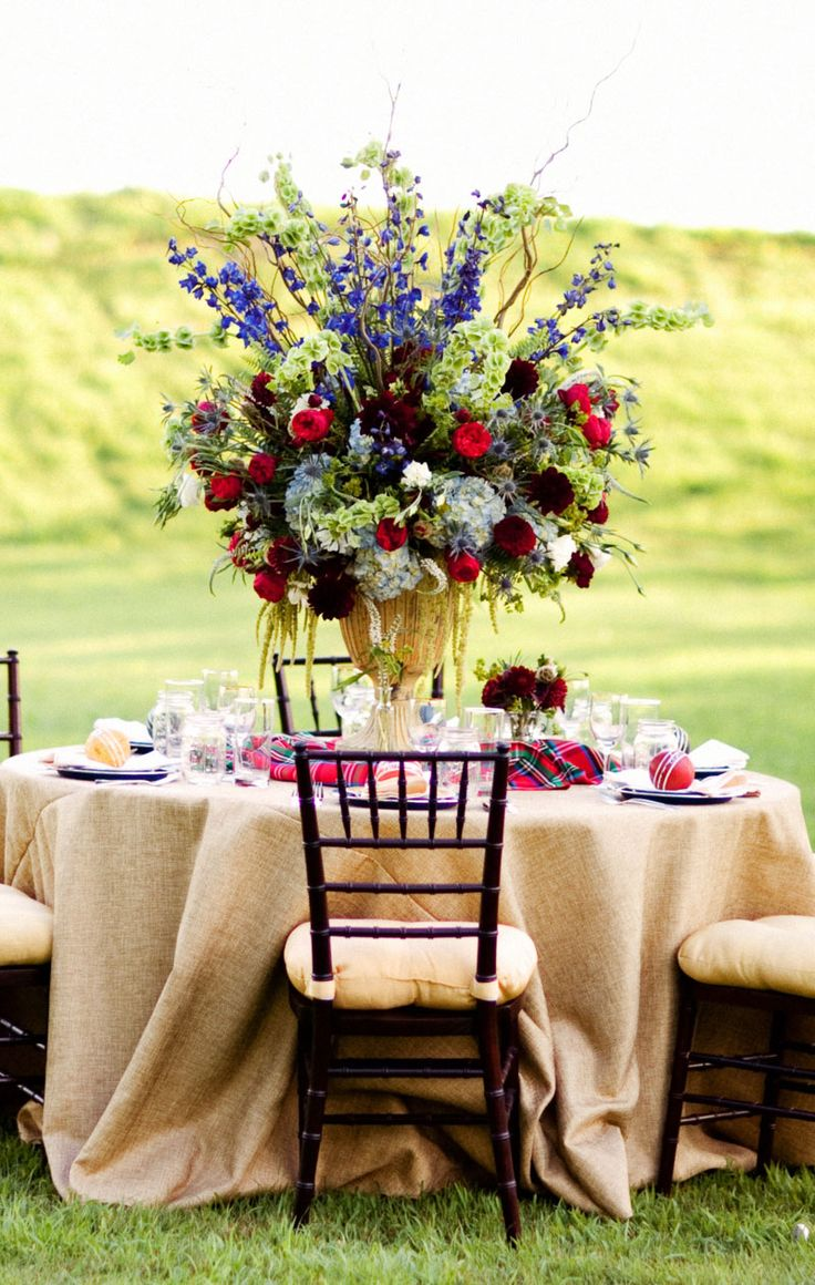 Darling Red And Blue Tall Centerpiece By Rebeccas Silver Rose Wedding Design Gibson Events