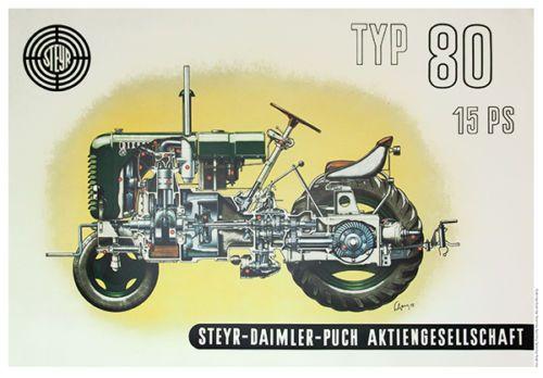 Steyr-Typ-80-15-PS-Diesel-Schlepper-Traktor-Poster-Plakat-Bild-Puch-Tractor