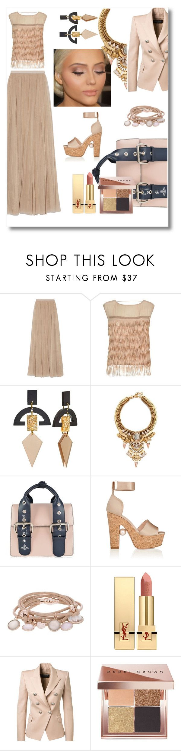 """monochrome"" by morag667 ❤ liked on Polyvore featuring Needle & Thread, Patrizia Pepe, Toolally, Elizabeth Cole, Vivienne Westwood, Nicholas Kirkwood, Marjana von Berlepsch, Yves Saint Laurent, Balmain and Bobbi Brown Cosmetics"