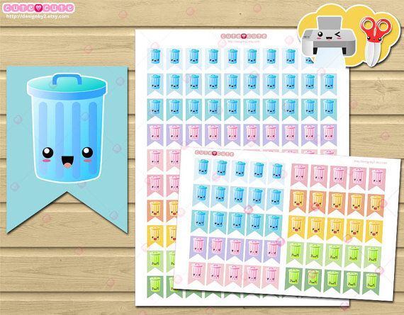 Trash Can Icon Printable planner stickers  for Erin condren Happy planner