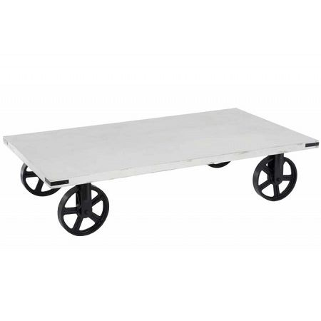 Salontafel wit op wielen